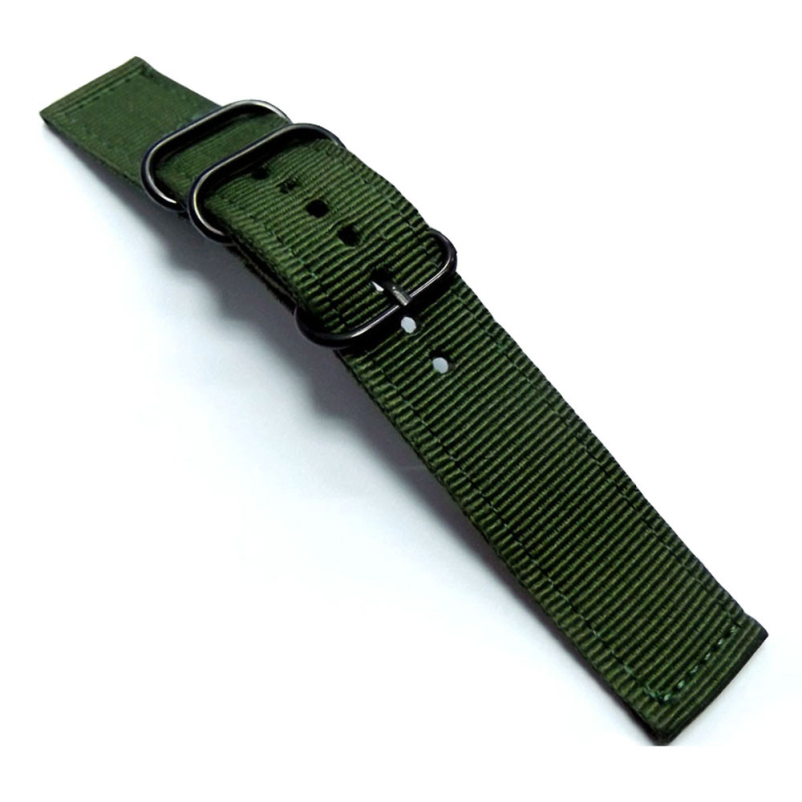 Excellent Quality New Green Color Nylon Canvas Military Army Fabric Wrist Watch Band Strap 20mm