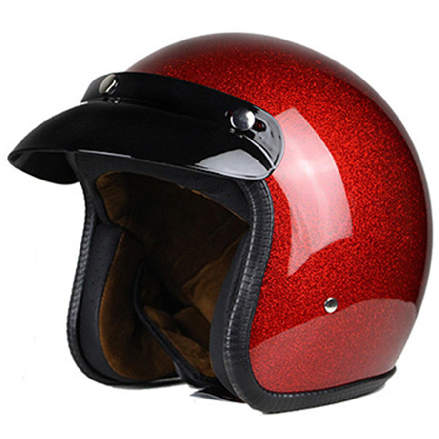 Vega Capacete Da Motocicleta Do Vintage para Homens & Mulheres, retro clássico Desenho da Face Aberta Leve DOT Certificada para Moto Cruiser M
