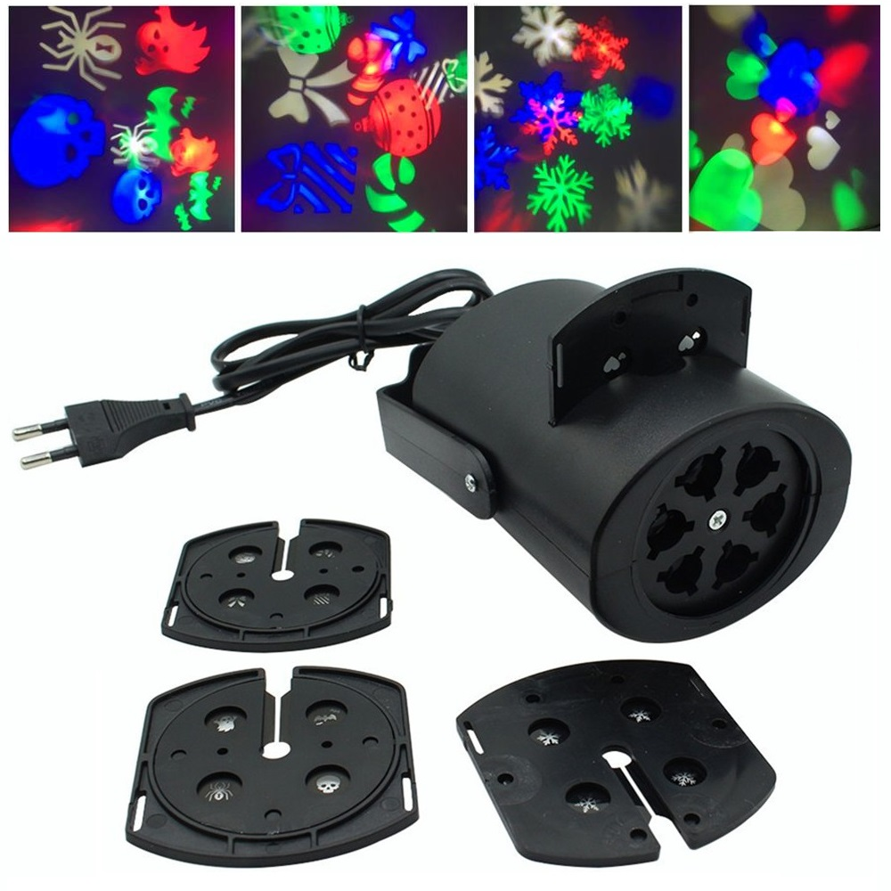 Mini-projektorin vaihevalo lumihiutalelamppu monivärinen lumi disko laserjuhla kevyt joululoma led-logovalo 4 mallia