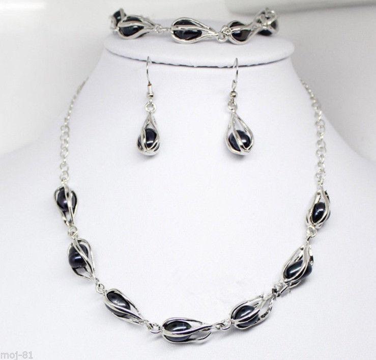Elegante natürliche schwarze Süßwasserperlenkette Halskette - Edlen Schmuck - Foto 1