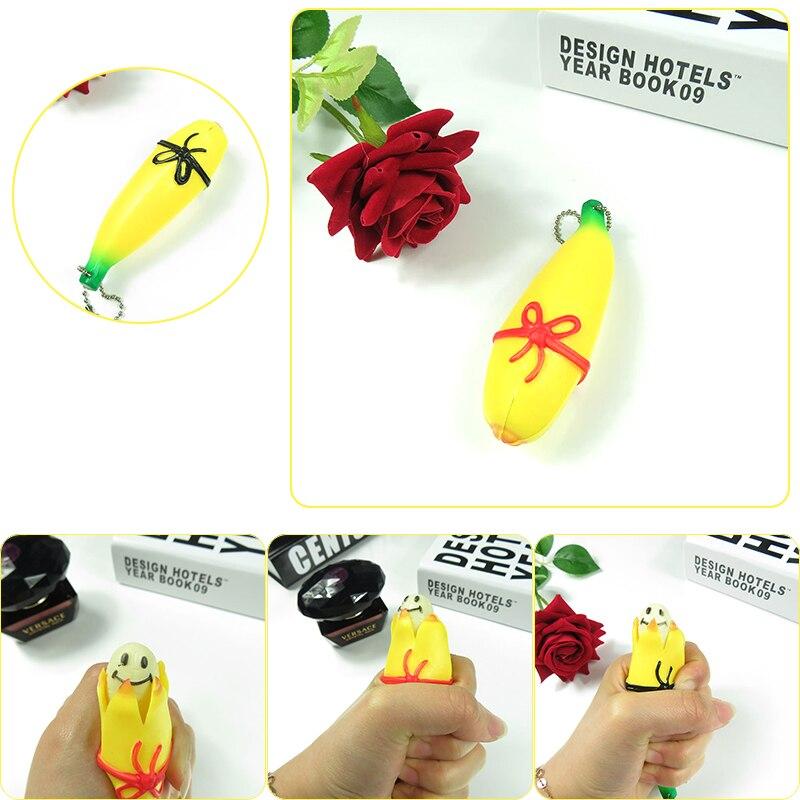 Весело, мило Банан снятие стресса. мягкими игрушка-брелок практичный подарок squeeze