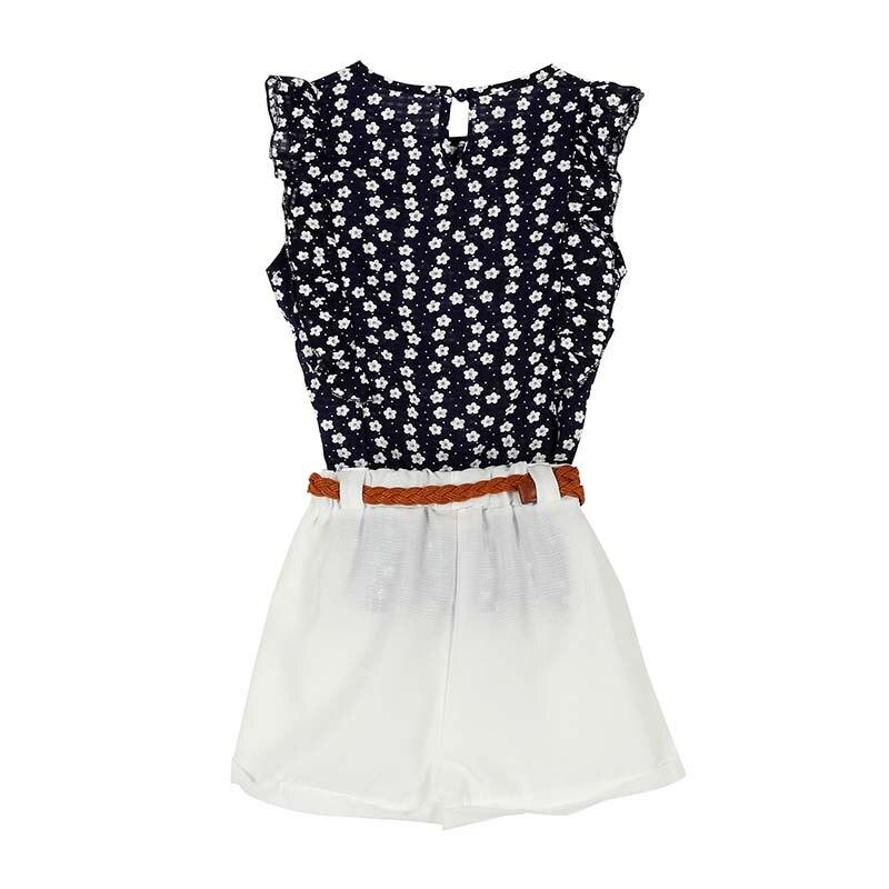 Summer Toddler Kids Baby Girls Clothes Sets Floral Chiffon Polka Dot Sleeveless T-shirt Tops+Shorts Outfits