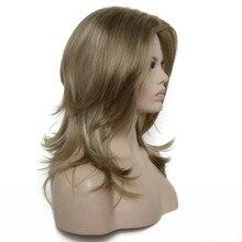 StrongBeauty peruki damskie długie proste syntetyczne warstwowe włosy jesion Brown z blond podkreśla pełna peruka