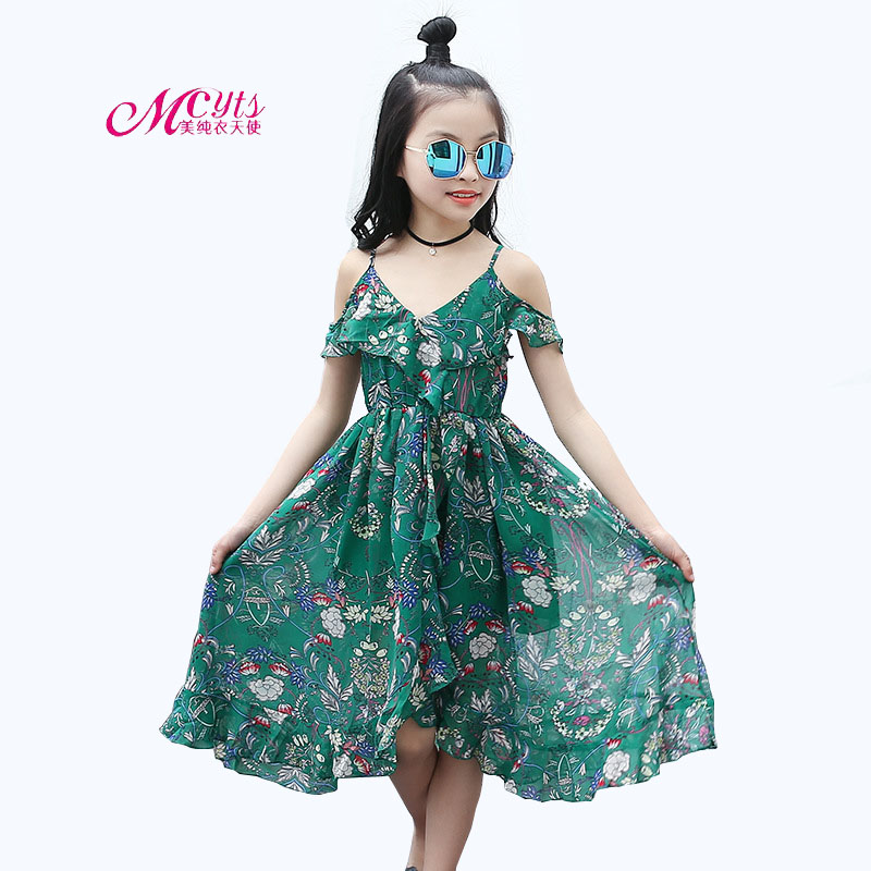 Fashion Girls Dresses Bohemian Girls Kids Cotton Summer Sleeveless Floral Sling Beach Dress 4 8 12 14 15 Years Children Clothing new girls bohemia children dresses summer beach dress floral v neck sleeveless dress jumpsuits maxi dress 4 6 8 10 12 14 years
