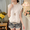 new hot sale 2016 Korean fashion summer women tops  sleeveless chiffon shirt lace blouse casual loose female slim shirt 57F 25