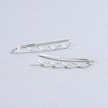 Kinitial Fashion Geometric Wave Bar Earrings Rose Gold Color Ear Crawler Drop Earrings for Women Girl Ear Cuff brincos 4