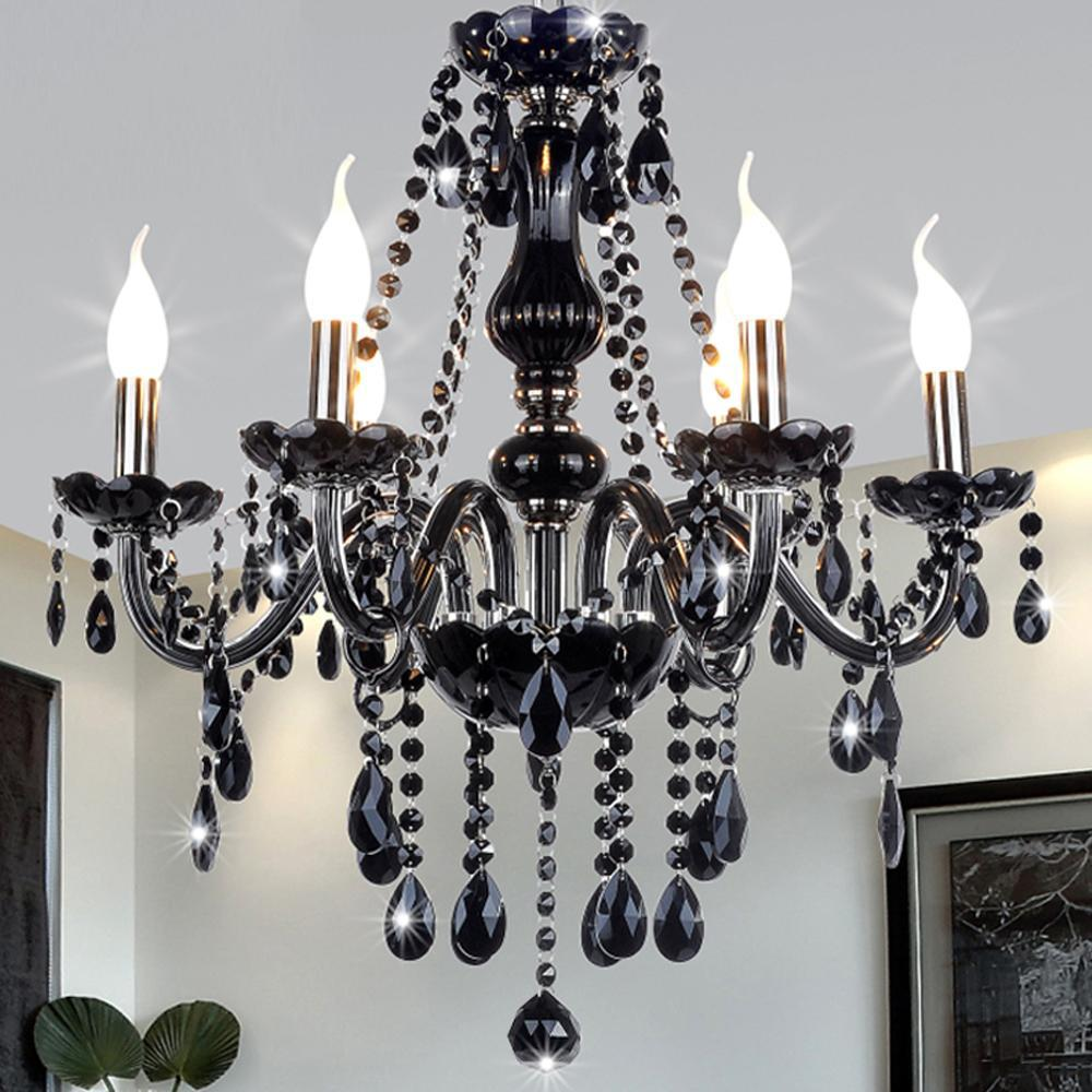 Black Modern Crystal Chandelier E14 Candle Holder Novelty