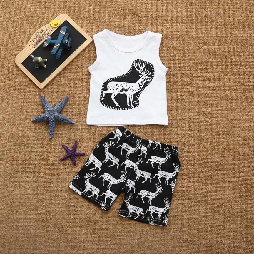 2Pcs/set Infant Baby toddler boys clothing kids Girls Deers Print sleeveless Tops vest + Shorts Clothes Outfits Set summer 3pcs outfit infantil girls clothes toddler baby girl plaid ruffled tops kids girls denim shorts cute headband summer outfits set