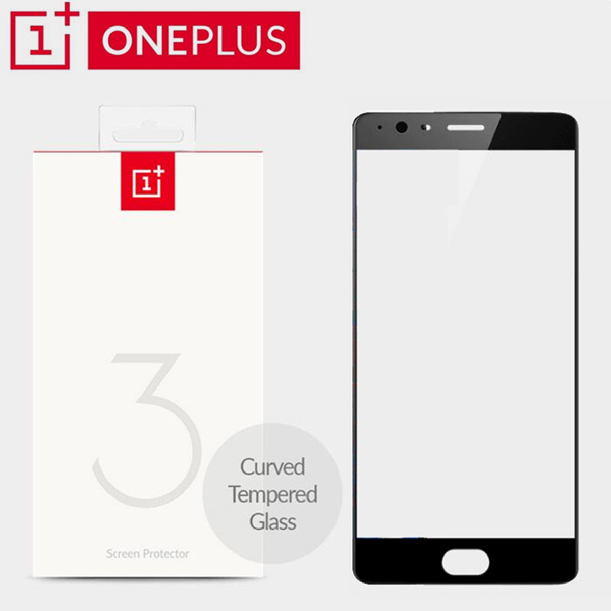 Black White in Stock 100 Original Oneplus 3 3T Tempered Glass Curved One plus 3 Screen
