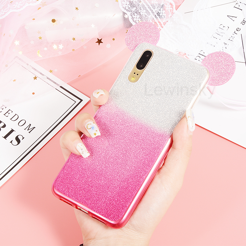 Phone Cases for Huawei P10 P8 P9 lite 2017 case Glitter Gradient Cover Cute Mickey Minnie Ears Silicone Case For Huawei P20 lite