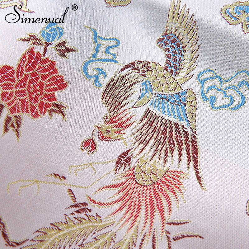 Simenual 刺繍ヴィンテージストラップ Bralette 作物トップセクシーなノースリーブホルタートップス女性の背中夏のタンクトップファッションスリム 2019