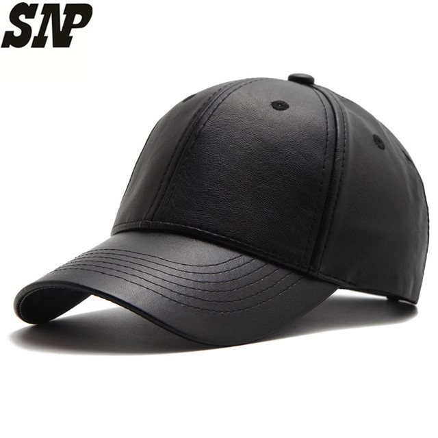 SNP PU solid black Leather Women's cap adult Baseball Cap gorras casual Snapback Hat For Men women baseball caps casquette
