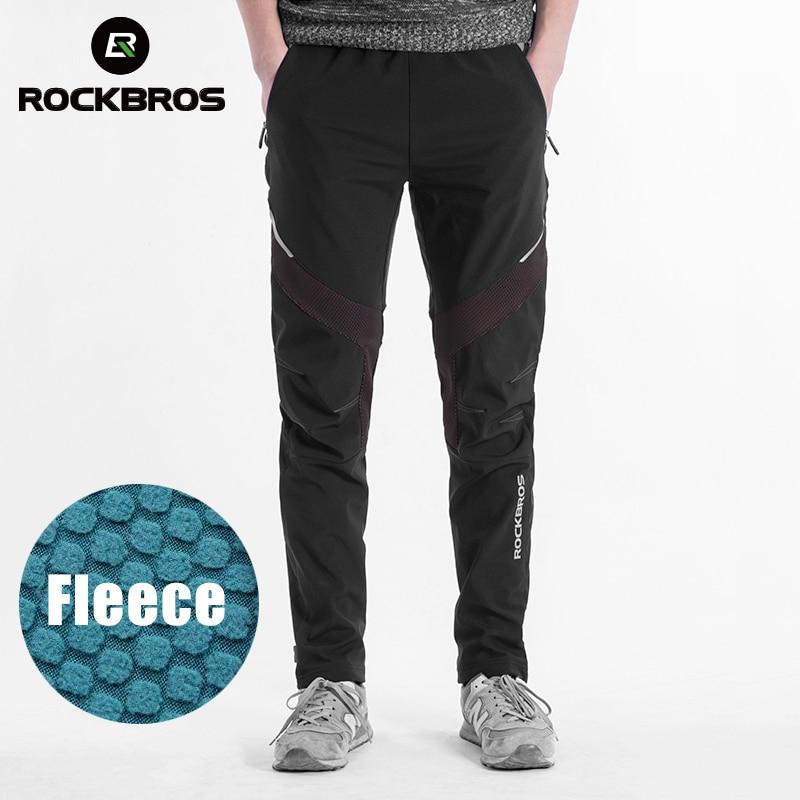 ROCKBROS Cycling Winter Bike Pants Outdoor Sport Waterproof Thermal Fleece Trousers Bicycle Equipment Tights Running Bike