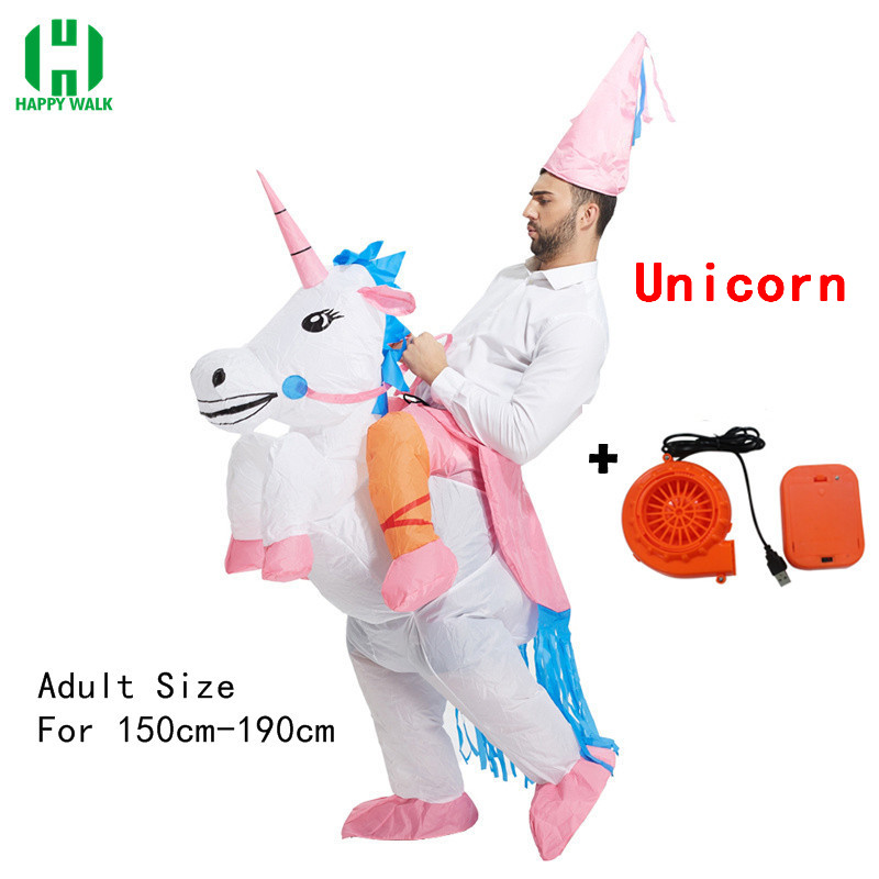 Purim Fantasy Inflatable Unicorn Dinosaur Costume Willy Cowboy Sumo Duck Animal Mascot Halloween Costume For Woman Man Kid Adult in Anime Costumes from Novelty Special Use