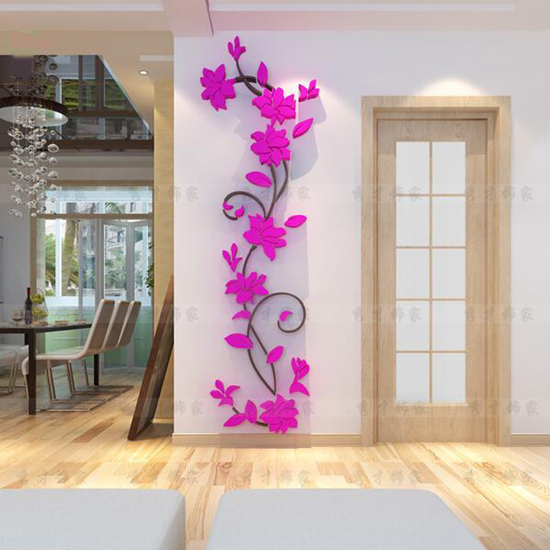 aliexpresscom buy fashion pvc flower mirror home art diy wall sticker living room decal decor wallpaper adesivo de parede purple pink flower from