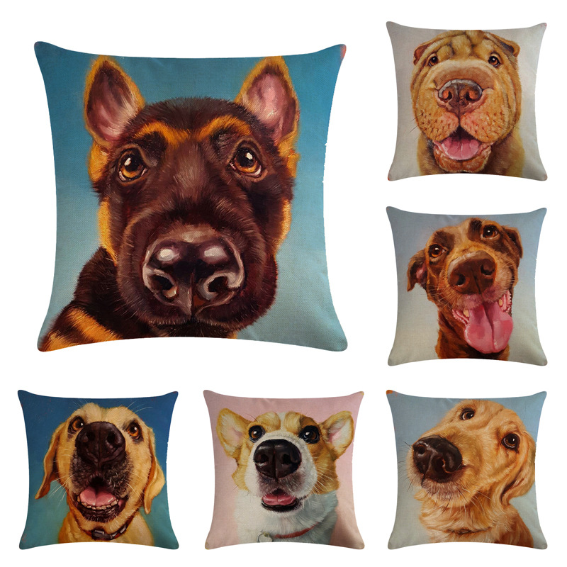 Pillowcase Dog Oil Painting Style Pillow Case Animal