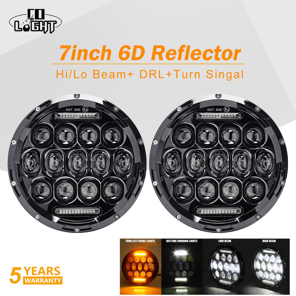 CO LIGHT 6D 7 inch Round Led Headlight Turn Singal DRL 75W 35W 12V LED Headlamp