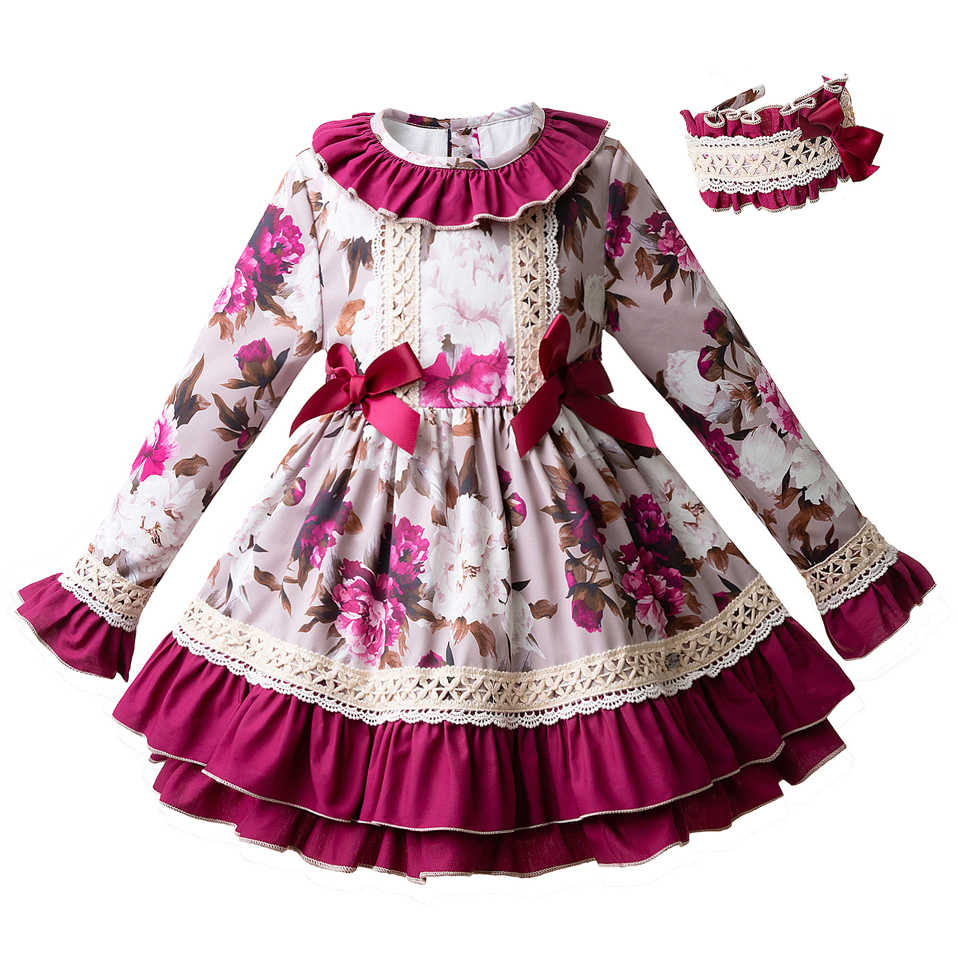 Pettigirl Wholesale New Fashion Floral Autumn Dress Flare Sleeve Party Dress  With Headband Boutique Kid Wear 197309f03c10