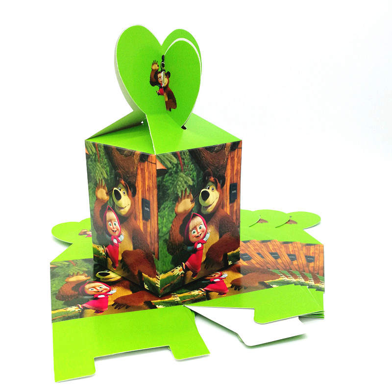 18/30/42/54Pcs Masha And Bear Theme Cartoon Candy Gift Box Kid Boy Girl Birthday Party Disposable Family Party Candy Box Supplie