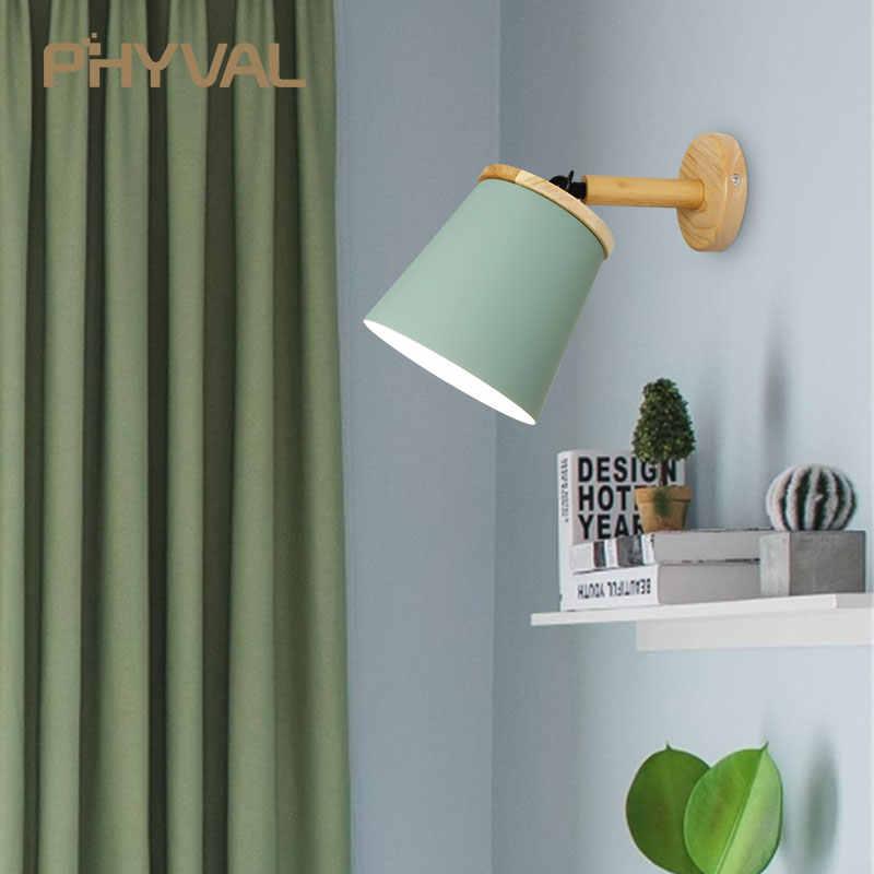 Деревянные простые креативные бра Светодиодные прикроватные украшения для спальни скандинавские дизайнерские гостиной коридор, отель регулируемые настенные светильники