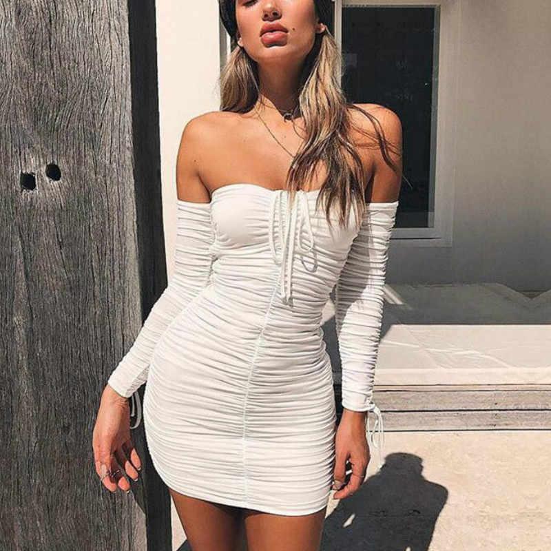 2019 хит продаж, сексуальное летнее платье с открытыми плечами, однотонное, с длинным рукавом, плиссированное, облегающее платье, мини платье, женское платье