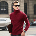 Siriusha Male winter sweater turtleneck knitting sweater thickening sweater twisted vintage sweater male basic shirt