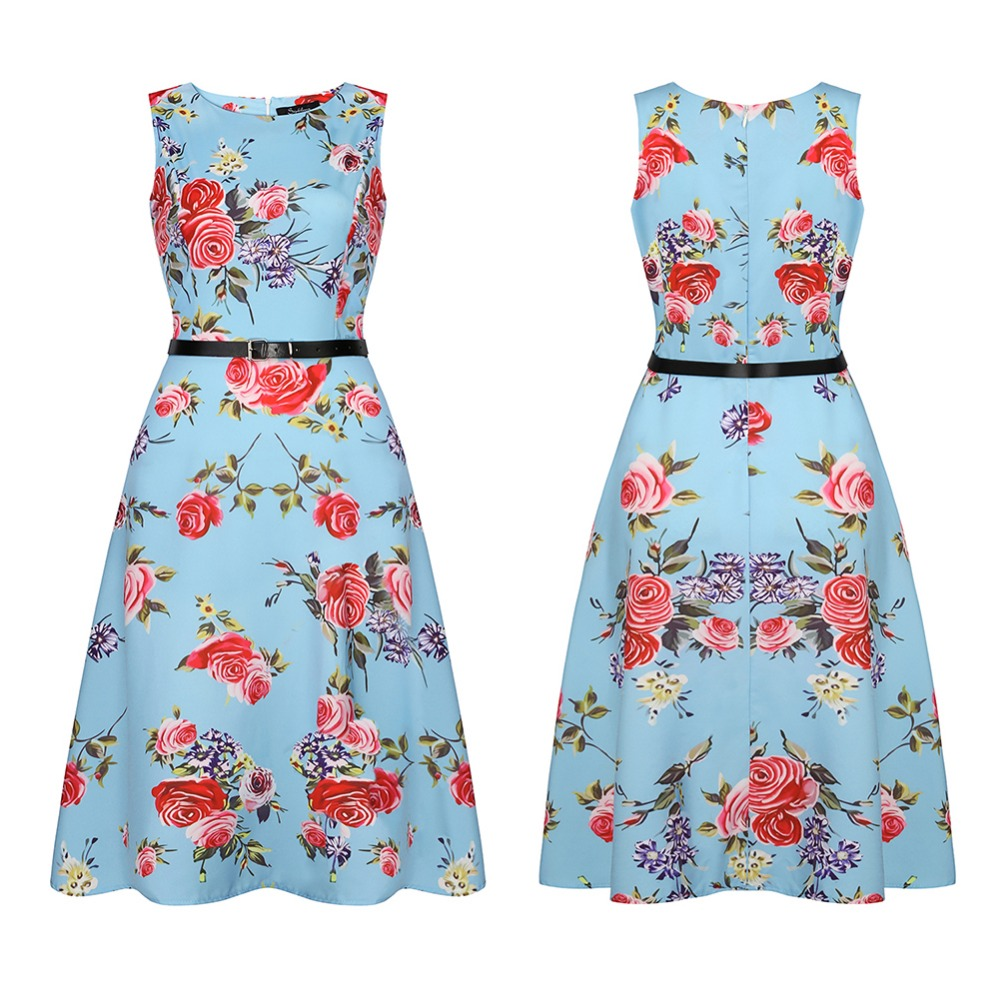 Vintage 1950\'s Sleeveless A line Dress Floral Spring Garden Party ...