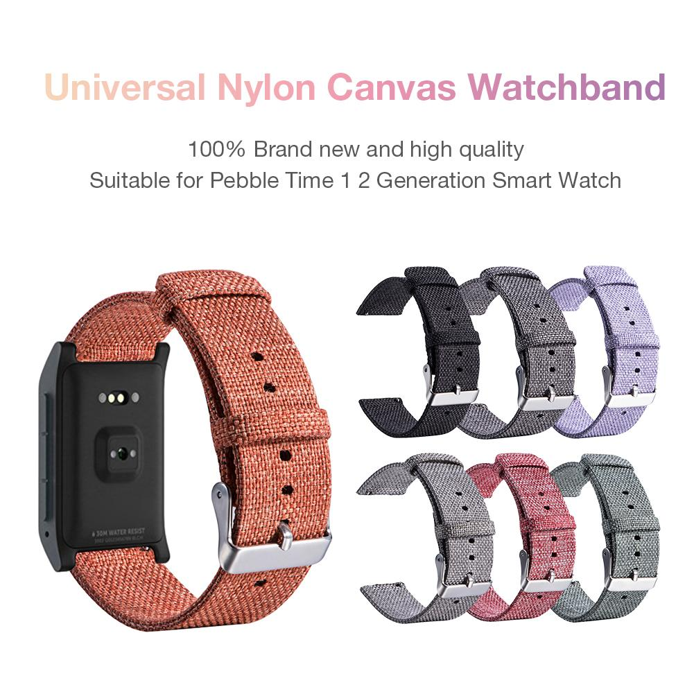Image 2 - New High Quality Strap Universal Nylon Canvas Watchband 22mm Smart Watch Strap For Pebble Time 1 2 Generation-in Smart Accessories from Consumer Electronics