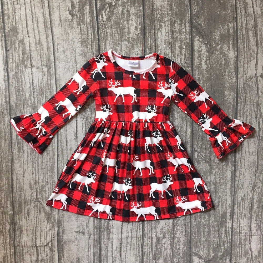 Christmas fall/winter baby girls clothes children red black plaid reindeer moose cotton ruffle boutique outfits reindeer kids