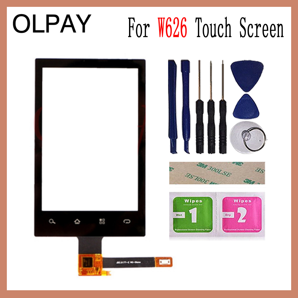 OLPAY 3.5'' Mobile Touch Screen For Philips W626 Touch Screen Front Glass Digitizer Free Adhesive And Wipes