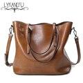 Lykanefu wax pu sacos de ombro das mulheres do vintage bolsa tote mulheres bolsa com zíper sacos de grande capacidade feminina bolsa feminina