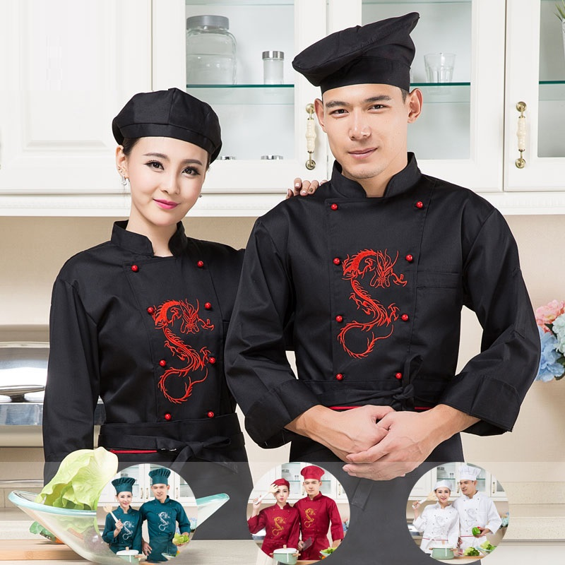 (10sets-Hat&Shirt&Apron)Cake Pastry Work Wear Uniforms White Long-sleeve Autumn And Winter Male 4 Color Can Mix Size Chefs Wear