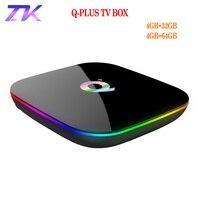 Q Plus Smart TV Box Android 9.0 4GB 32GB 64GB USB3.0 H.265 1080p 4K H.265 USB3.0 IP TV Netflix Q Plus Set Top Box PK X96 H96 MAX