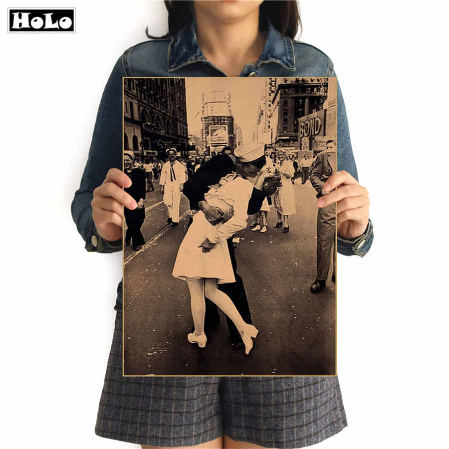 Old Photo Victory Day Vintage nostalgic poster Kraft Paper Poster Wall Art Crafts Sticker for home decor bar cafe 42x30cm GGB089