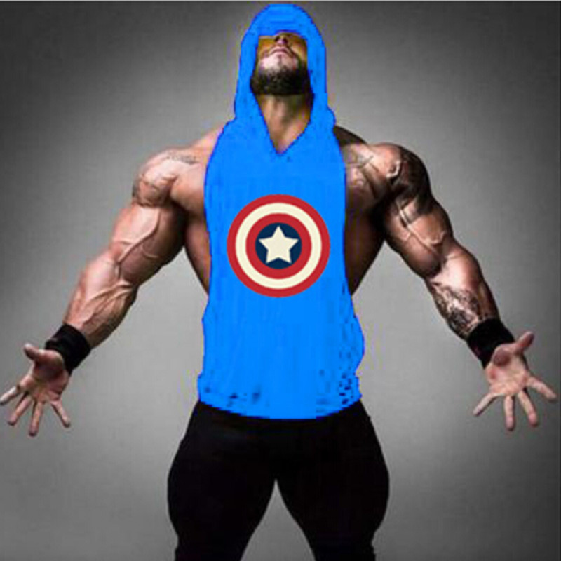 Hot sale men tank tops muscle bodybuilding clothing vest mens hooded tops sleeveless shirt debardeur homme