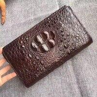 Business Style Genuine Crocodile Skin Zipper Closure Men Man Phone Clutch Bag with Coded Lock Alligator Leather Male Money Purse