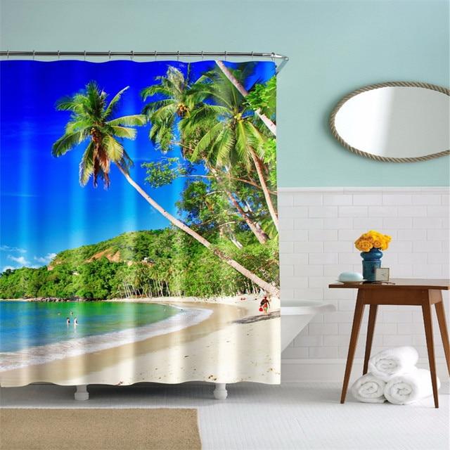 Vacation Hawaii Beach Design Boys Shower Curtain Waterproof3D
