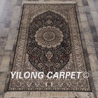 YILONG 3'x5' Tabriz silk carpet dark blue hand knotted exquisite handmade turkish silk rug (PWP534A3x5)