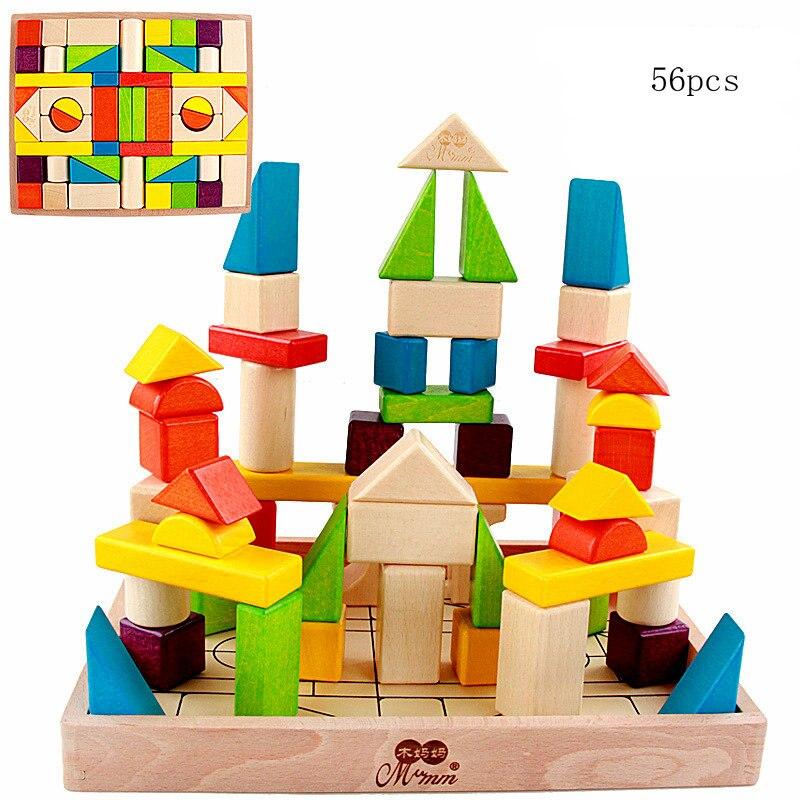 56 pièces Enfants Classique en bois coloré forme cognitive jeu de construction Bébé bois éducatif jouet à bloc enfants Jeu de bloc cadeau