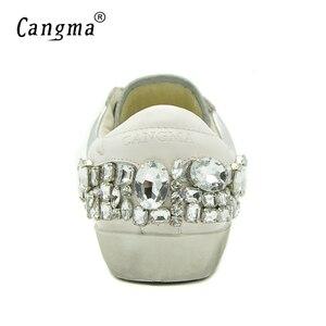 Image 5 - CANGMA Casual Schuhe Marke Turnschuhe Goldene Frauen Silber Diamant Weiß Wohnungen Echtem Leder Schuhe Kristall Gans Trainer