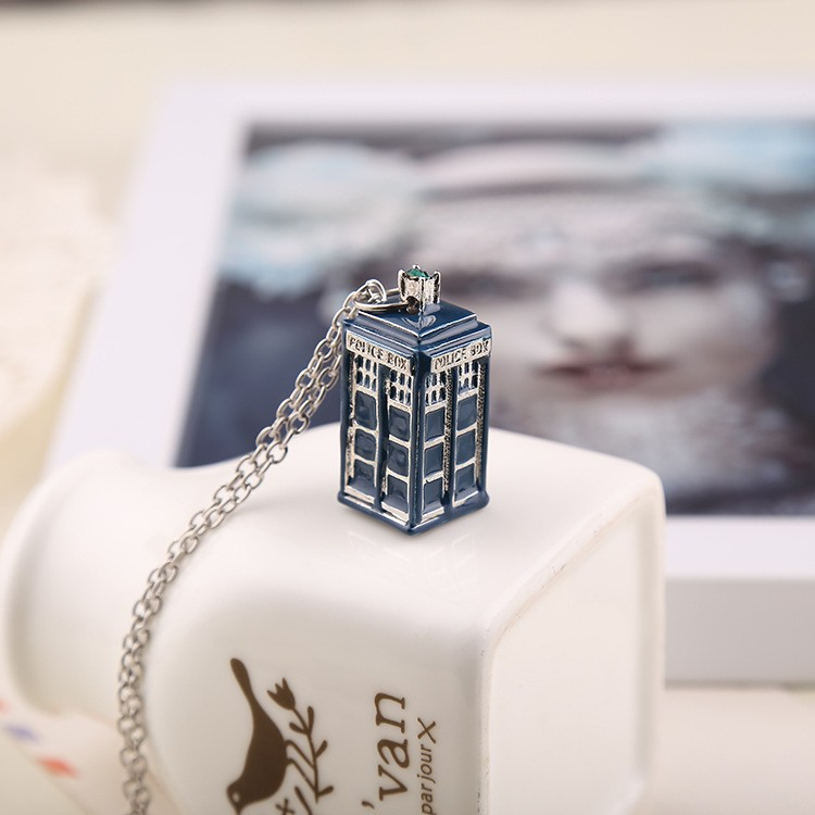 dr doctor who necklace tardis police box vintage blue silver pendant jewelry for men and women