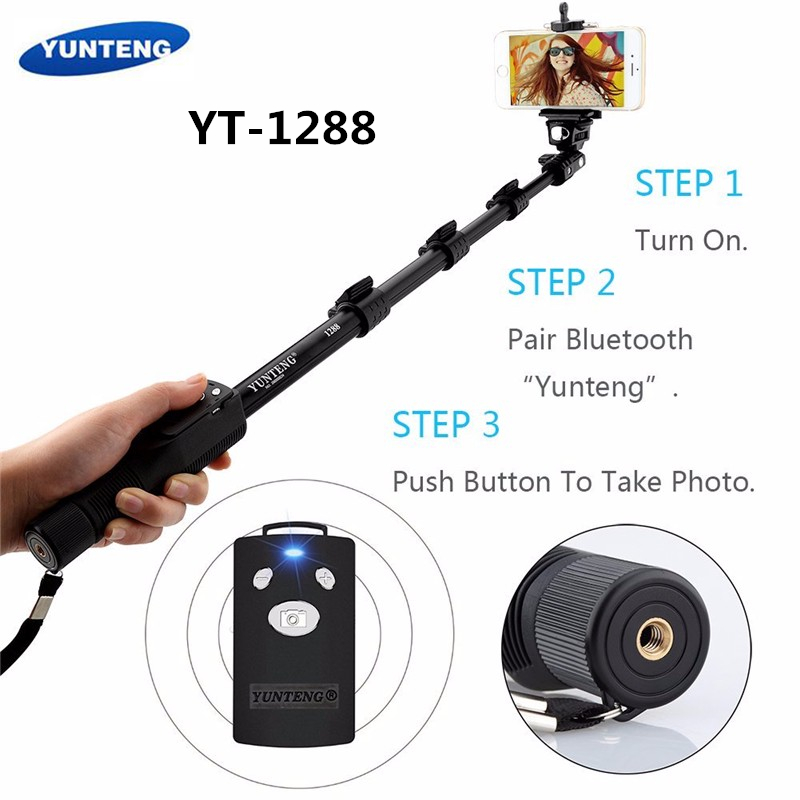 Original Brand Yunteng 1288 Selfie Sticks Handheld Monopod + Phone Holder + Bluetooth Shutter for iPhone GoPro Camera стоимость