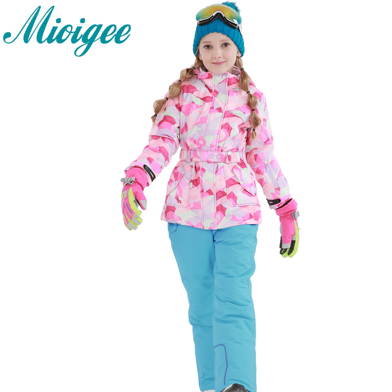 Mioigee 2017 New girls sports suit Winter Warm Waterproof Ski coat +pants children clothes for girls sets 6-16T ski jacket girl a15 girls jackets winter 2017 long warm duck down jacket for girl children outerwear jacket coats big girl clothes 10 12 14 year