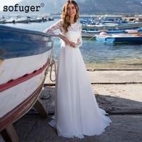 White Ivory Long Sleeves Chiffon A Line Beach Dresses Wedding Dresses Bridal Gown Wedding Vestidos de Noivas Custom