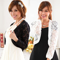 F~4XL Hot Sales 2016 Women Fashion All Match Large Size Evening Party Cape CutOut Lace Long-sleeve Short Shawl Cardigans Jackets