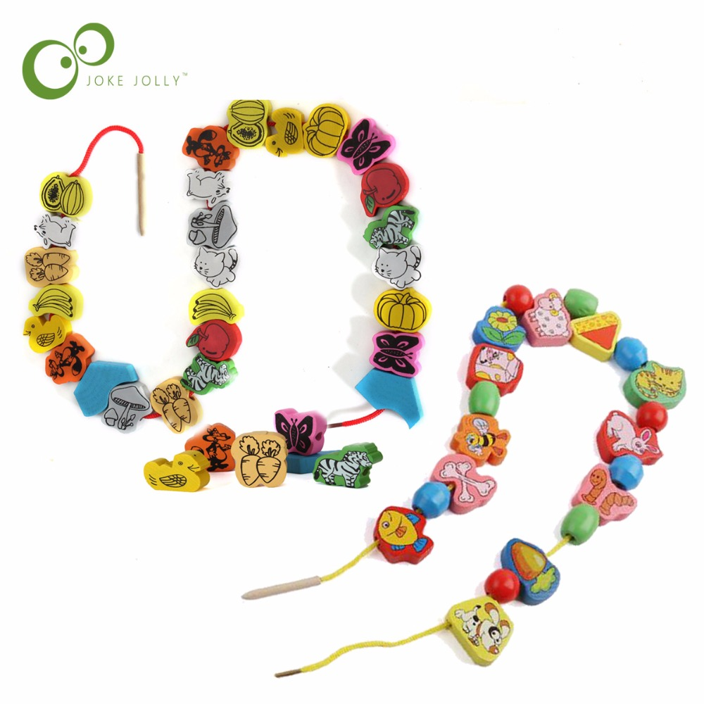 26pcs/SET Wooden Animal Fruit Block stringing beaded Toys For Children Learning & Education Colorful Products Kids Toy 2.5cm WYQ(China)