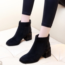 Women Boots High Heels Ankle Boots Fashion 2019 Autumn Winter Chunky Heel Ladies Short Boots Shoes Female Shoes CH-A0131