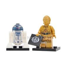 Star Wars Robot Single Sale C3PO R2D2 Figure C-3PO R2-D2 Building Blocks Starwars Models Bricks Kits Toys for Children