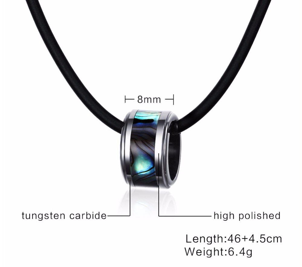 Mens Tungsten steel shell pendants Necklace black 14