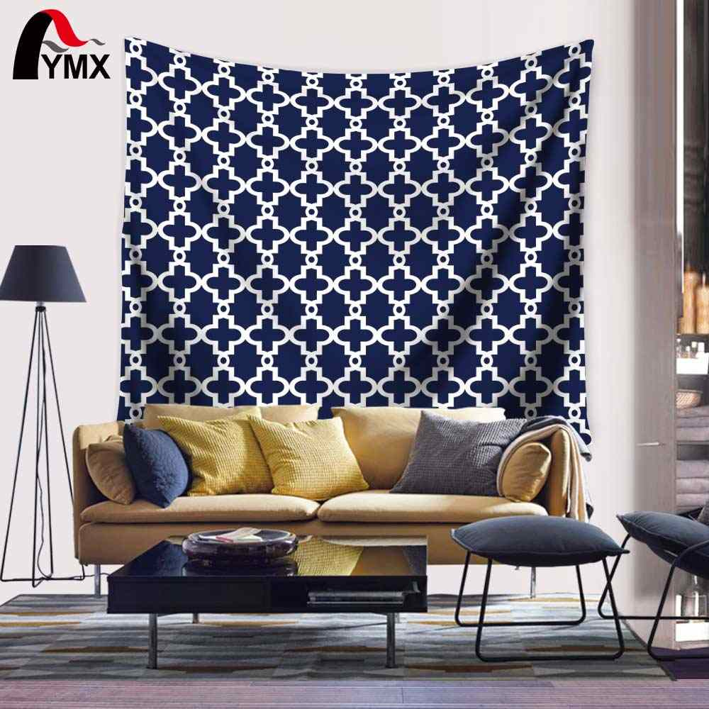 Japanese Tapestry Noren Door Curtain Long Blue and White Plaid Linen Tapete Mandala Fabric Ripndips Hanging Wall Tapestries Yoga